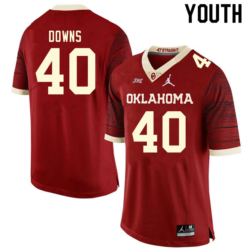 Youth #40 Ethan Downs Oklahoma Sooners College Football Jerseys Sale-Retro